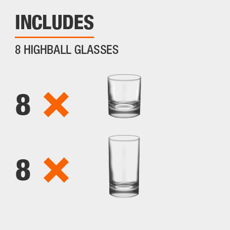 Drinkware set includes 8 double old-fashioned glasses and 8 highball glasses