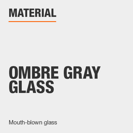 Drinkware set is made of indivually handcrafted, mouth-blown, ombre gray glass