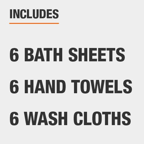 Set includes six bath sheets, six hand towels, and six wash cloths