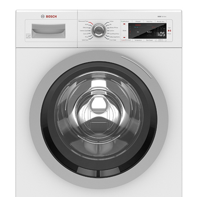 Front view of Bosch 500 Series Compact Washer with Silver Door Ring
