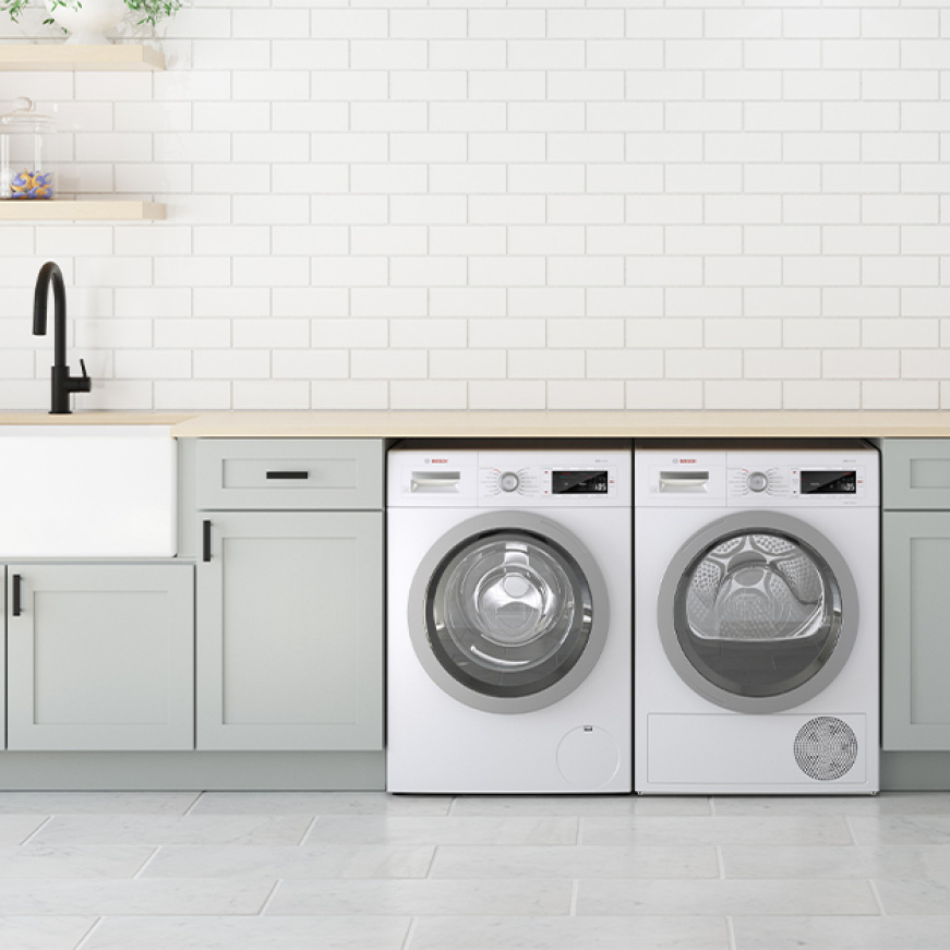 Bosch 500 Series compact laundry set installed side-by-side