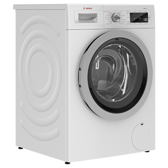 Side view of Bosch 500 Series Compact Washer with noise reduction
