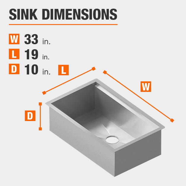 Sink Dimensions Width=33 inches Length=19 inches Depth=10 inches