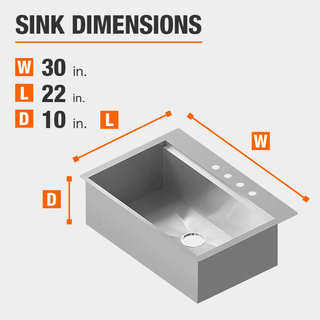 Sink Dimensions Width=30 inches Length=22 inches Depth=10 inches