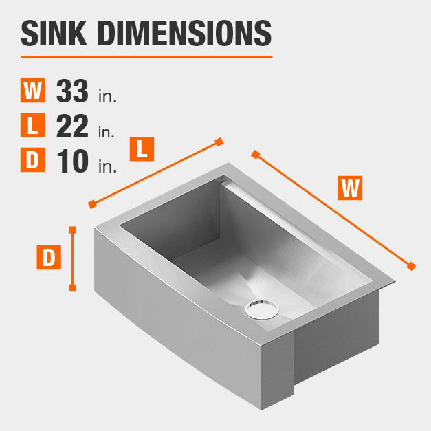 Sink Dimensions Width=33 inches Length=22 inches Depth=10 inches