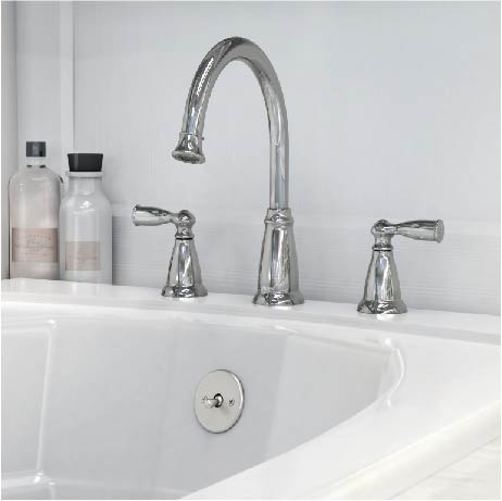 Moen Banbury 2 Handle Deck Mount High Arc Roman Tub Faucet With Valve In Spot Resist