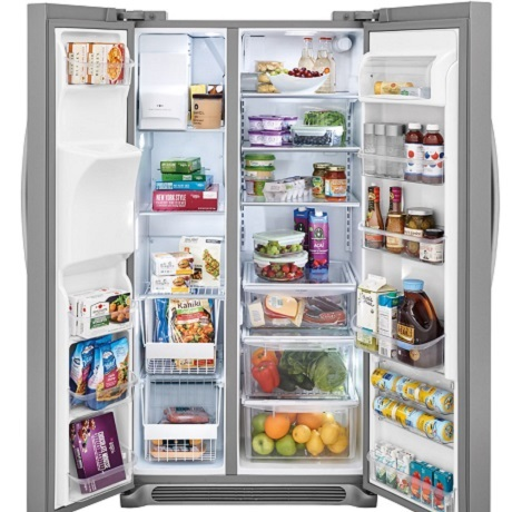 French door refrigerator open with food inside