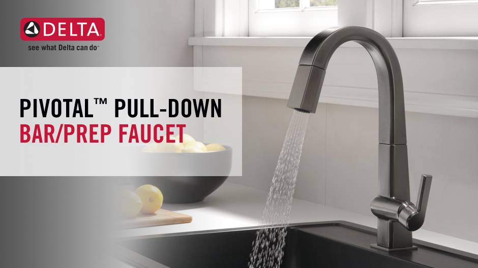 "Image depicts a faucet with water running and text ""Pivotal Pull-Down Bar/Prep Faucet"""