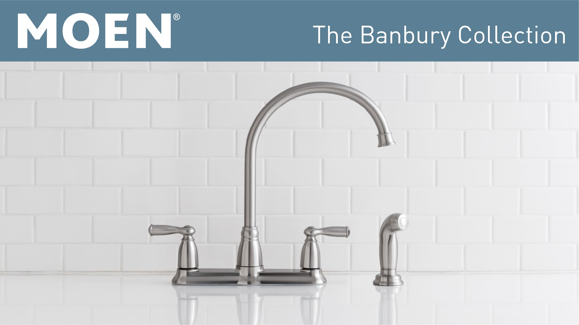Moen Banbury High Arc 2 Handle Standard Kitchen Faucet With Side Sprayer In Spot Resist Stainless Ca87000srs The Home Depot