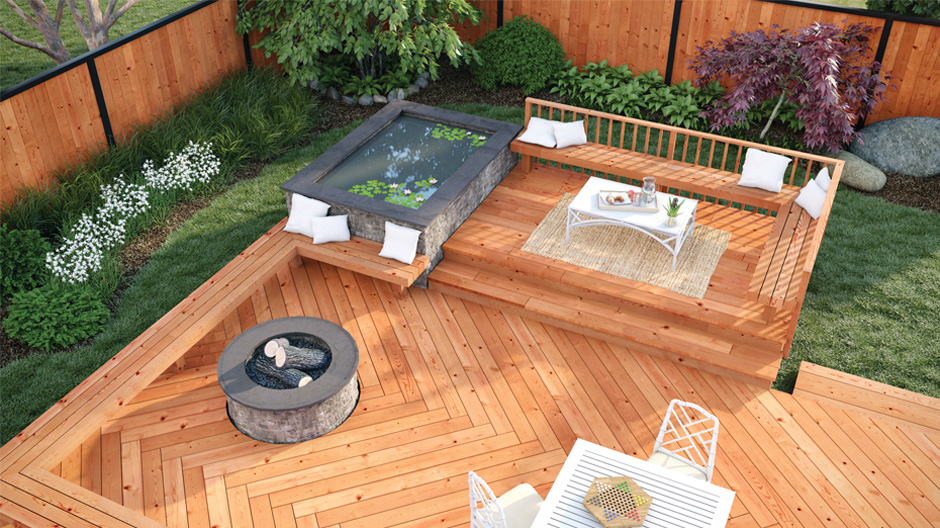 Overhead looking view of a cedar-tone pressure treated deck to feature a chevron deck board print and complimenting bench, stairs, and railings.