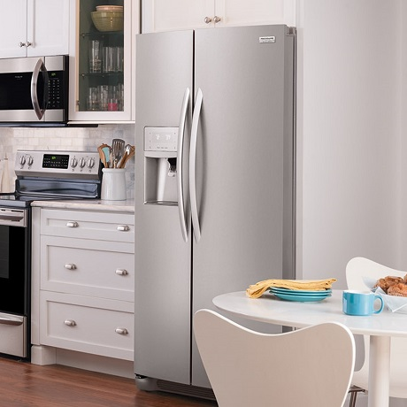 Kitchen with counter depth refrigerator