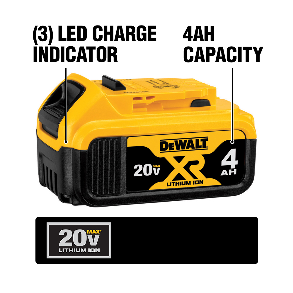 The DCB204 Premium XR Lithium Ion battery gets long-lasting power and prolonged life and weighs just 1.42 lbs. It features a built-in charge meter.