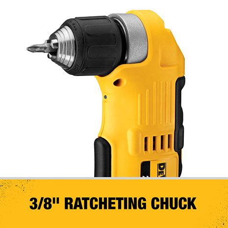3/8 in. ratcheting chuck with deep hex pocket allows 2 in. (50 mm) hex bit to be fully inserted for access into tight spaces.