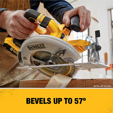 Bevel capacity of 57 degrees with bevel stops at 22 1/2 degrees and 45 degrees.