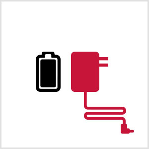 Image is a black and red line drawing of a battery pack