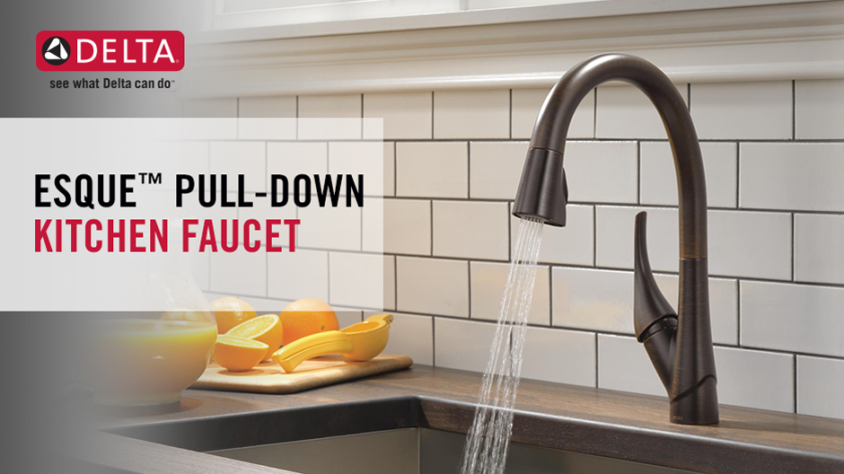 Delta Esque  Ar Dst Single Handle Pull Down Kitchen Faucet Arctic Stainless