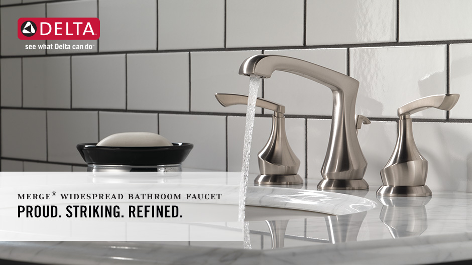 Delta Alux Spotshield Brushed Nickel 2 Handle Widespread: Delta Merge 8 In. Widespread 2-Handle Bathroom Faucet In