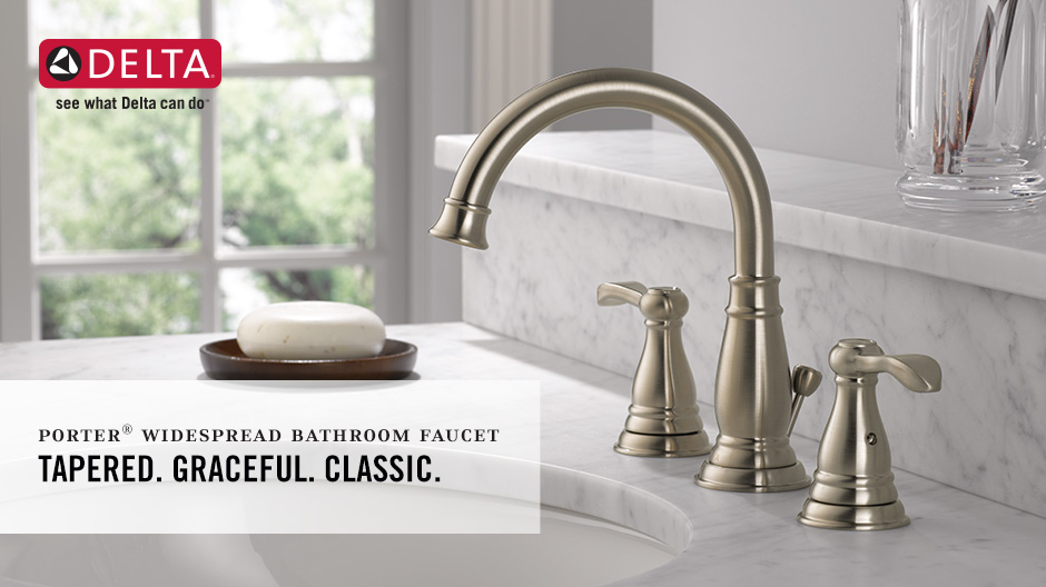 Delta Alux Spotshield Brushed Nickel 2 Handle Widespread: Delta Porter 8 In. Widespread 2-Handle Bathroom Faucet In