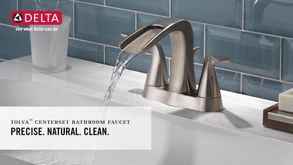 Delta Tolva 4 In Centerset 2 Handle Bathroom Faucet In