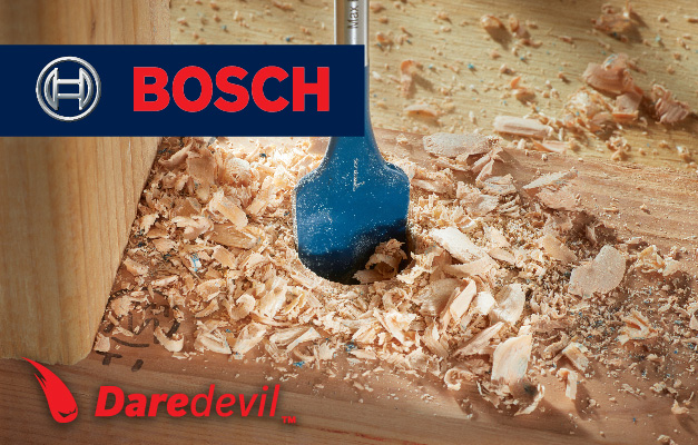 Bosch Daredevil spade bit drilling hole into wood.