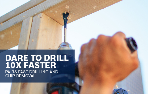 Bosch Daredevil spade bit drilling overhead into wood.