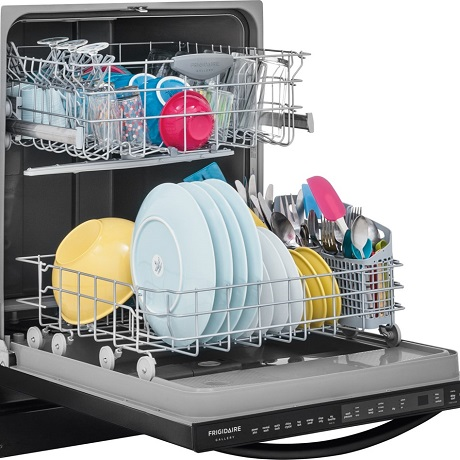 Open dishwasher with clean dishes
