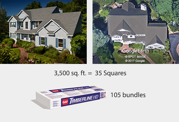 For a 3,500 sq. ft. home, buy 105 bundles.