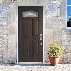 Masonite Croxley Camber Fan Lite Exterior Fiberglass Door in Oak