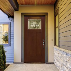 Masonite Everland Grain Left Hand Inswing Exterior Fiberglass Door in Oak