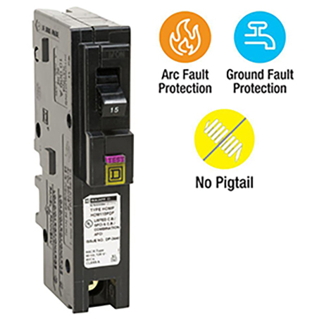 Square D Homeline Dual-Function Plug-On Neutral breakers available in single-pole design