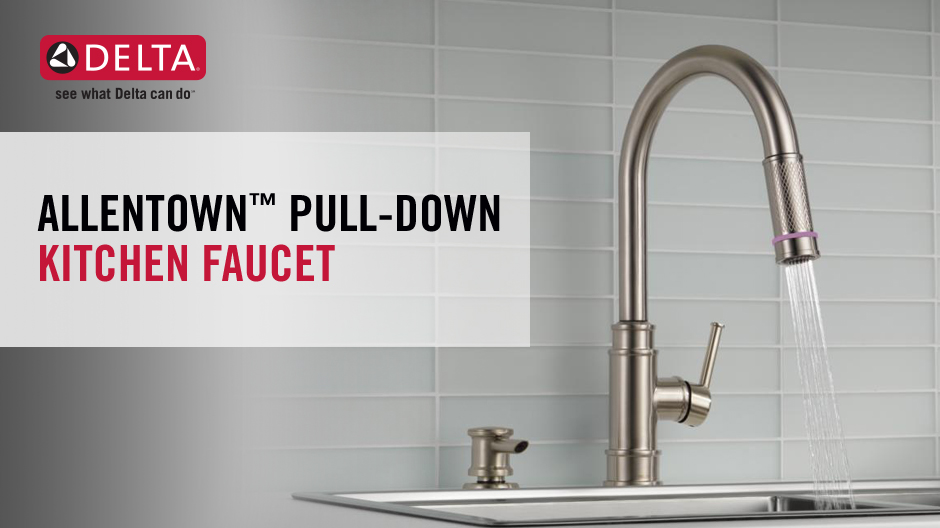 """Image depicts a faucet with water running and text """"Allentown Pull-Down Kitchen Faucet"""""""