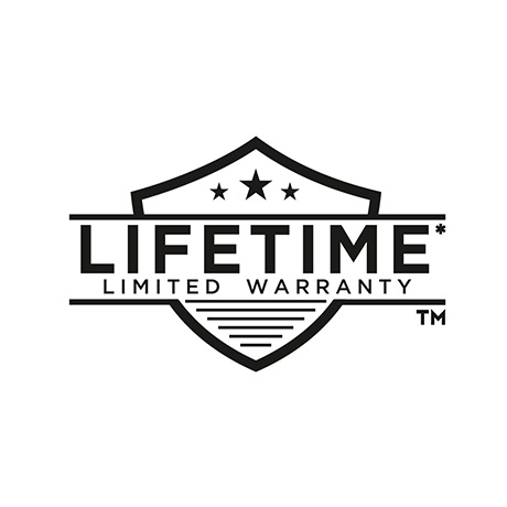 "Image depicts a black line drawing of a warranty symbol with text ""lifetime limited warranty"""