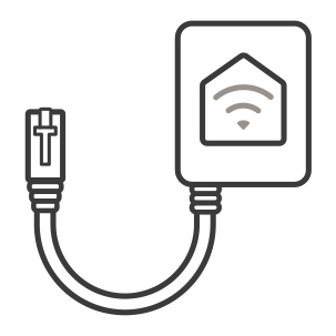 An icon of the optional wifi accessory that can be plugged into the appliance for smart home capability