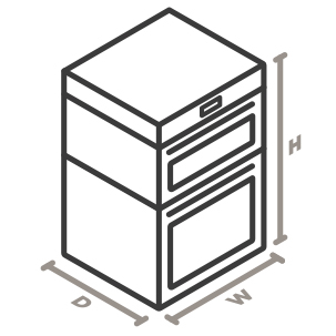 An isometric icon of the appliance. Lines designate and measure the height, width, and depth of the appliance.