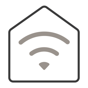 An icon of a stylized house. Waves emanate from the center of the house, showing the appliance's smarthome capabilities.