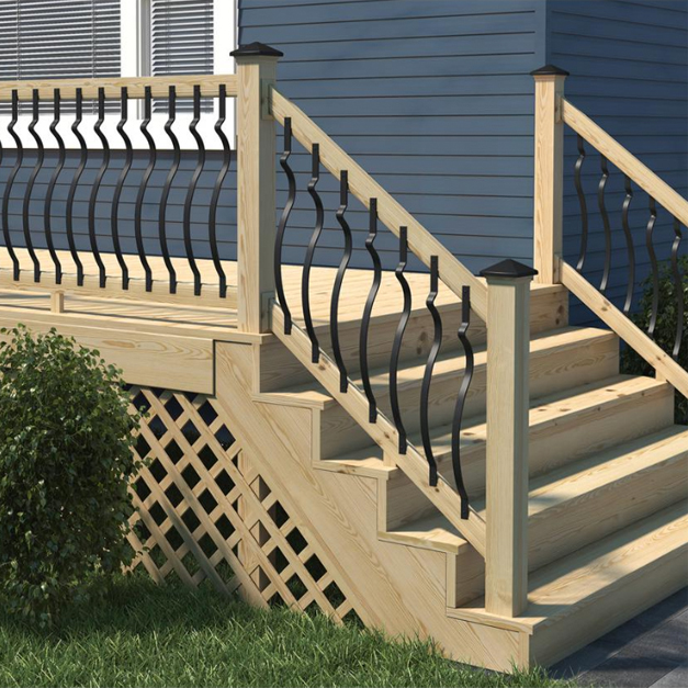 A view showing the contour balusters installed allong a deck featuring the rail and stair rail