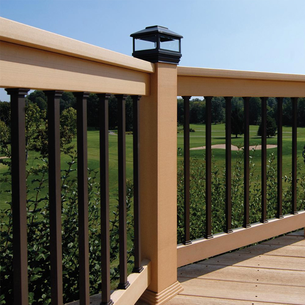 A profile view of a deck railing to showcase the steel square balusters