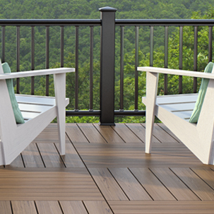 A view from a deck looking out featuring the square balusters