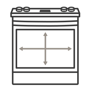 An icon of the range. Arrows measure the capacity of the oven's cavity.