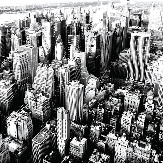 Black and white image of a cityscape