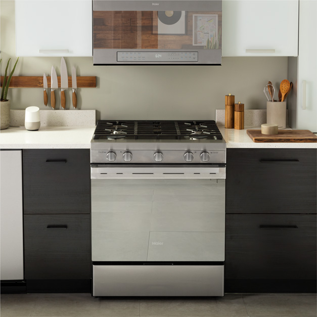 Haier range and microwave in a kitchen