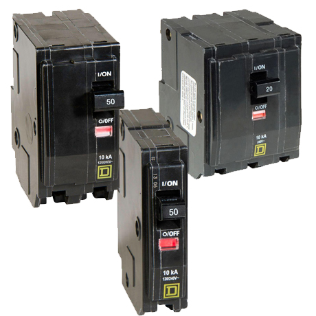 Choose between single-pole, 2-pole and 3-pole QO standard breakers