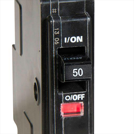 Red Visi-Trip indicator light can be found on the front of all Square D QO breakers