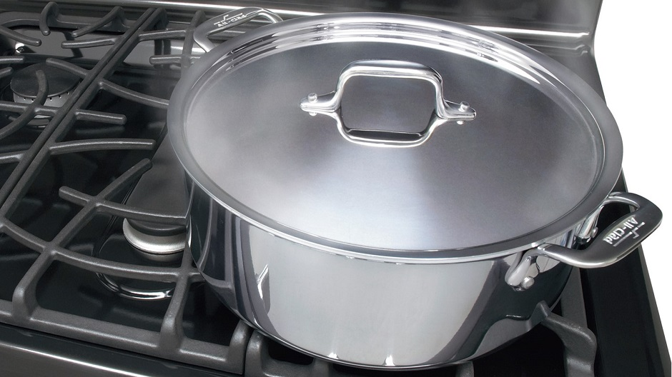 Covered pot on gas range