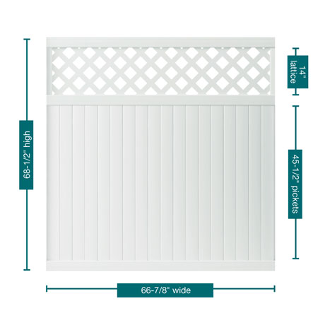 "A picture of the fence showing the measurements. This panel is 68-1/2"" tall, 66-7/8"" wide with 45-1/2"" pickets and 14"" lattice section."