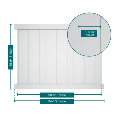 """A picture of the fence showing the measurements. This panel is 69-9/16"""" tall, 94-1/2"""" wide with 6-7/16"""" pickets"""