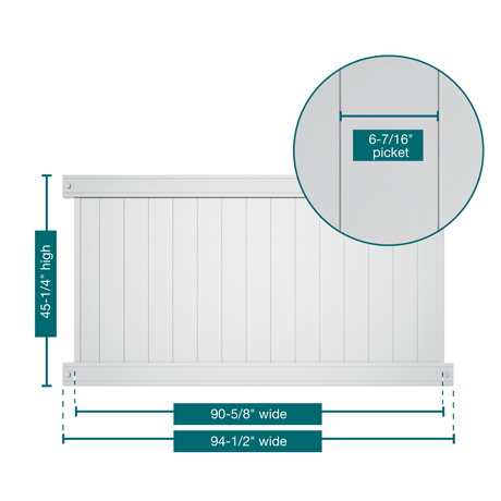 "A picture of the fence showing the measurements. This panel is 45-1/4"" tall, 94-1/2"" wide with 6-7/16"" pickets"