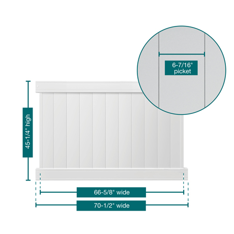 "A picture of the fence showing the measurements. This panel is 45-1/4"" tall, 70-1/2"" wide with 6-7/16"" pickets"