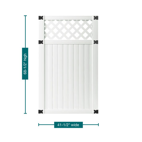"A profile picture of the gate on a white background outlining the measurements. This gate is 68-1/2"" tall and 41-1/2"" wide."