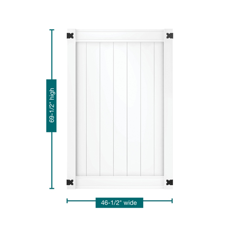"""A profile picture of the gate on a white background outlining the measurements. This gate is 69-1/2"""" tall and 46-1/2"""" wide."""